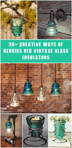 Glass Insulator Light Glass Insulator could be repurposed into a wall sconce light with a built-In switch for a retro-industrial looking. Set of 5 pendant lights made using repurposed glass insulators and a piece of exotic recycled hardwood. Industrial Style Pipe Lamp…