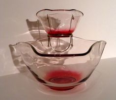 Vintage, Indiana Glass, Chip & Dip Bowl Set, Serving Set, Entertainment Set, Clear Glass, Ruby Bottom, 1960's Bowls