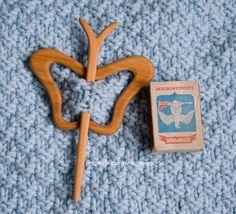 Barrette, brooch, fibula Butterfly. Wood: Juniper