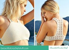 Crochet Halter Top Free Pattern - CROCHET - This cute crochet halter top is a perfect choice for summer time. You can wear it on the beach or go out in the evening. This simple pattern will help Crochet Halter Tops, Bikini Crochet, Crochet Summer Tops, Crochet Crop Top, Crochet Blouse, Knit Lace, Débardeurs Au Crochet, Beau Crochet, Crochet Mignon