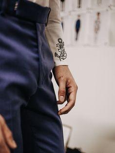 Anchor embroidery at Alexander McQueen SS16 LCM. Photography Chloe Le Drezen.