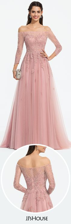 994b5d9340772 A-Line Off-the-Shoulder Sweep Train Tulle Prom Dresses With Beading Sequins