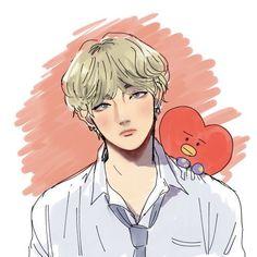 Taehyung Fanart, Bts Taehyung, Bts Bangtan Boy, V Chibi, Kpop Drawings, Wow Art, Bts Lockscreen, Bts Fans, Kpop Fanart