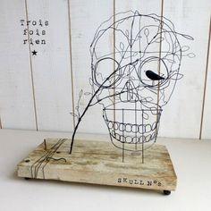 Crâne fil de fer, wire skull, Let the bird singing in my head 1