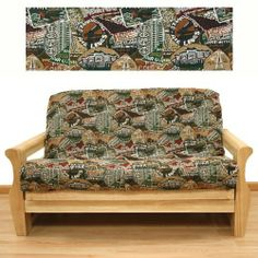 Travel Futon Cover Loveseat 621 by SlipcoverShop. $79.00. See Sizing and Product Description below. In Stock - Ships within 2 days. Made for Loveseat size futon mattress. Measuring 54 inches wide and 54 inches long. This cover is used for the seat and back of futon frame These futon covers feature 3 sided, concealed zipper construction and fit futon cushions up 8 inches thick. Travel fabric is delightful novelty pattern in vibrant color pallet. Depicting places you v...
