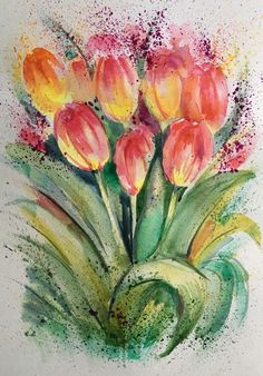 "* AQUARELL ORIGINAL ""BLUMEN "" TULPEN Watercolor 21 X 29,7 