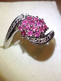 Mahenge Rose Spinel ring with diamond accents ring in sterling silver #Cluster
