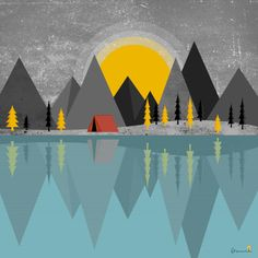 Minimal Vector Camping Illustration, Minimalism, Flag, Camping, Country, Art, Scary, Artworks, Campsite