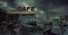 Cafe , Pavel Proskurin on ArtStation at https://www.artstation.com/artwork/gK1L