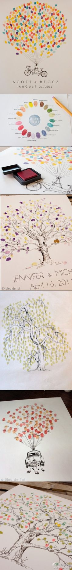 fingerprints from wedding. But can use this idea for baby blessing or anything where guests come LOVE this idea