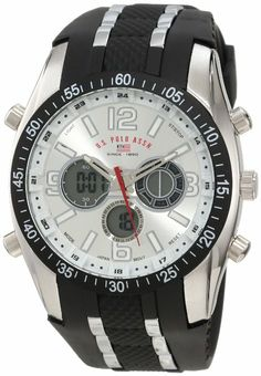 U.S. Polo Assn. Sport Men's US9061 Black Rubber Strap Watch: Watches