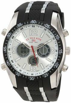 U.S. Polo Assn. Sport Men's US9061 Black Rubber Strap Watch: Watches