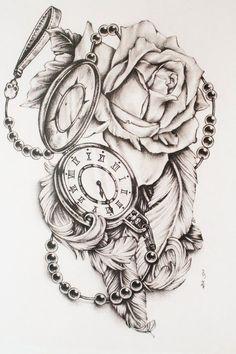 Montre de poche avec des roses, #montre #poche #roses