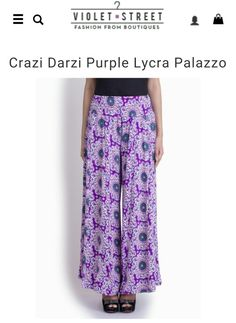 Perfect your Indo-western look this season with these purple palazzo pants from Crazi Darzi! http://www.violetstreet.com/boutiques/crazi-darzi