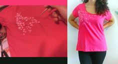 """""""Peach flowers""""  (by Mar V.) 100% cotton Size L (woman) Colour: fuchsia  This t-shirt is for the artisan herself, but it's possible to make a similar decoration on other t-shirts and top."""
