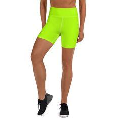 Neon Green Women's Yoga Shorts, Bright Green Workout Gym Tights -Made – Heidi Kimura Art LLC Yoga Shorts, Shorts With Tights, Yoga Leggings, Workout Shorts, Yoga Pants, Women's Athletic Shorts, Gentle Yoga, Intense Workout, Athletic Women