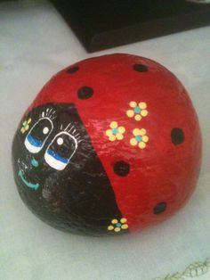 Lady Bug W/ Flowers, Painted Rock E.R. 2014