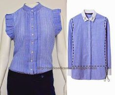 Transfer ling sleeve shirt into a dressy blouse for summer.  No directions but it kinda if gives you an idea from the picture.  Im going to have to try this transformation :)