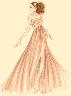 Elegant Fashion Art Sketch Gown