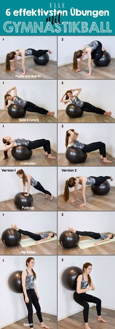 ball exercises for a toned body - The workout with an exercise ball trains coordination, balance and ensures good posture. But what m -Exercise ball exercises for a toned body - The workout with an exercise ball trains coordination, balance and ensu. Full Body Workouts, Gym Workouts, At Home Workouts, Ball Workouts, Weight Exercises, Exercise Fitness, Body Fitness, Fitness Diet, Exercise Ball