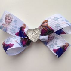 Disney Frozen Hair Bow Clip with Heart by OliverandMay on Etsy, $5.00