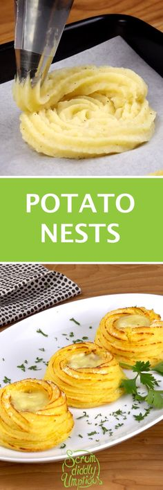 Potato Nests with cheese and ham