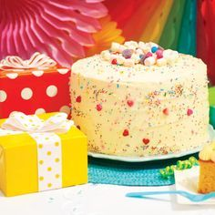 Party Plan Menu: a buffet of colorful sweets Stage Setter: multi-colored fans, lanterns, balloons, confetti, and ribbon Finishing Touches sprinkles and can I Love Food, Cupcake Cakes, Cupcakes, Vanilla Cake, Party Planning, Sprinkles, Cake Recipes, Buffet, Deserts