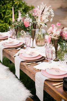 Pink Boho Farm Wedding Inspiration filled with Pretty Details – Carrie McCluskey Photo 12 Bohemian Decor, Boho, Vintage Bohemian, Bohemian Style, Gold Wedding Decorations, Table Decorations, Wedding Themes, Wedding Ideas, Pink Table Settings