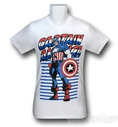 "Made from 100% Cotton this soft white t-shirt features an image of Captain America standing proudly in front of his usual patriotic color scheme. It's red white and blue all the way for Captain America baby! There ain't no ""Commie"" pink on this t-shirt friends.    http://www.marveloussuperherosquad.com/details.php?pid=494716628"