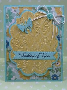 I love how the embossing is the real feature on this card? The embossing folder is from Provo Craft and the labels are from the Elegant Edges cart. (Hint: cut loads of these at one time for later use) used the Gypsy to tweak the proportions of the label shapes