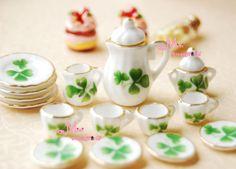 Lot-of-15-Green-Leaf-Dollhouse-Miniature-Porcelain-Coffee-Tea-Cup-Set-DC48