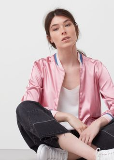 Your Back-to-School Shopping List of Anything-but-Basic Basics via Brit + Co Pink Satin Bomber Jacket, Leather Jacket, Teddy Girl, Back To School Shopping, Capsule Wardrobe, Fashion Forward, Swimsuits, Long Sleeve, Clothes