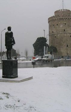 The distance between the statue of Phillipe the 2nd and Leykos Pyrgos is the history passed. From Hellinistic times to Ottomans. Thessaloniki, Greece
