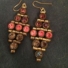 Gorgeous reinstone earrings Five rows of stones. Jewelry Earrings