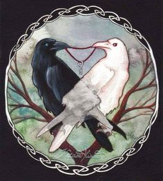 Crows Ravens: ~ Huginn and Muninn, Thought and Memory, Odin's crows. They flew over the world and returned in the evening to Odin. No memory without thought, no thought without memory. Raven Art, Norse, Celtic, Illustration, Witchy, Drawings, Fantasy Art, Art, Mythology