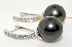 14K White Gold Diamond and Tahitian Pearl Drop by LindysChoice