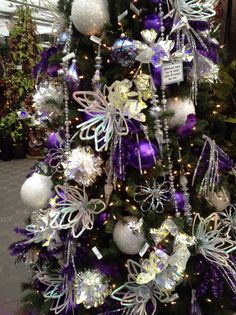 Purple and white christmas tree