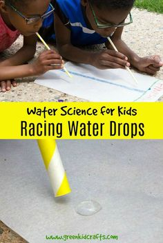 Water Science for Kids: Racing Water Drops – Green Kid Crafts Water Science for Kids: Racing Water Drops Water science is a great way to keep kids learning through the summer break. Kid Science, Science Games For Kids, Preschool Science Activities, Science Week, Summer Science, Stem Science, Kindergarten Science, Science Experiments Kids, Science Classroom