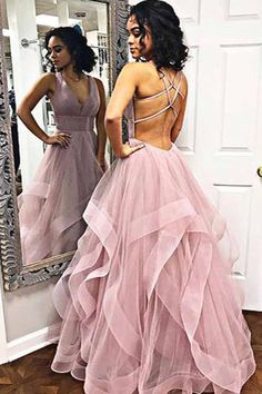 custom drsses Blush Pink Ruffles Ball Gown Criss-Cross Backless Prom Dresses V-neck Long Prom Dress Tulle Evening Dress Formal Gowns Hot Prom Gowns Prom Dresses Long Pink, Straps Prom Dresses, Open Back Prom Dresses, Backless Prom Dresses, Formal Evening Dresses, Dress Prom, Dress Long, Dresses Dresses, Different Prom Dresses