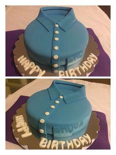 Shirt fondant cake. Cupcakes Design, Fondant, Desserts, Shirt, Food, Theme Cakes, Pastries, Tailgate Desserts, Fondant Icing