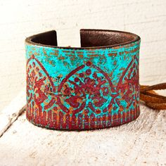 ....Turquoise Jewelry Leather Cuff Southwest Bracelet Bohemian Wristband....    • This adjustable size cuff will fit a SMALL to LARGE Womens wrist