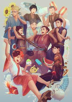 """Haikyuu!! Karasuno volleyball team - """"Summer Boys"""". Artist: PenguinFrontier. Source:http://penguinfrontier.deviantart.com/"""