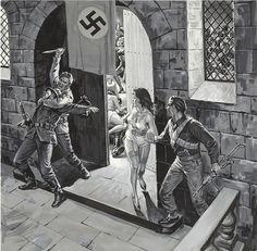 UNKNOWN - Commando Raid - Man's Life illustration - item by fineart.ha Pulp Fiction Art, Pulp Art, Pulp Magazine, Magazine Art, Crime, War Comics, Going Home, Figure Painting, American Artists