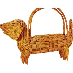 Vintage Yellow Wicker Figural Daschund Dog Purse