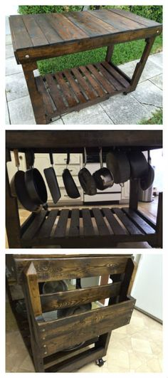 Rolling kitchen cart #KitchenIsland, #RecycledPallet