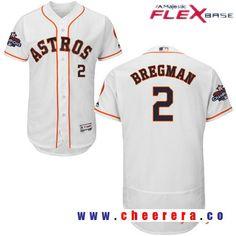 Men's Houston Astros #2 Alex Bregman White Home Majestic Flex Base Stitched 2017 World Series