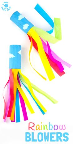 fun kids crafts CARDBOARD TUBE RAINBOW BLOWERS are a colourful and fun kids craft! Kids love blowing this rainbow craft to see the streamers swoosh. A super TP roll St Patricks Day craft or for a weather topic too. March Crafts, St Patrick's Day Crafts, Daycare Crafts, Preschool Crafts, School Age Crafts, Summer Crafts For Kids, Art For Kids, Summer Crafts For Preschoolers, Spring Kids Craft