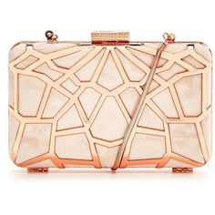V By Very Cutwork Hard Box Clutch ($31) ❤ liked on Polyvore featuring bags, handbags, clutches, pink handbags, hard clutch, pu handbag, pink purse and box clutch