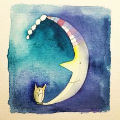 Good night! Watercolor illustration of the owl on the moon... By Ati van Twillert