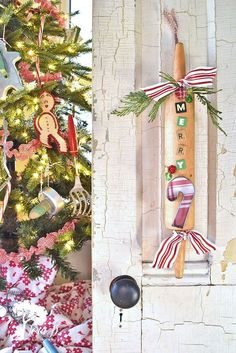 Old rolling pins are inexpensive and plentiful at the thrift store. By adding a few vintage letters and some other embellishments, you can create a fun Christmas decor accent to gift or keep yourself. Get out your glue gun!